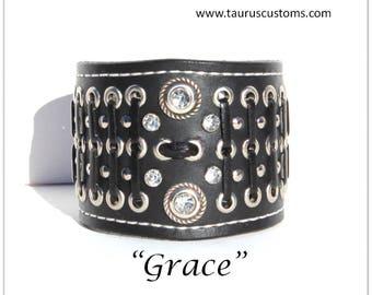 Womens leather cuff, Leather bracelet, Bikers leather bracelet, Biker chick cuff bracelet, Leather bracelet cuff, Crystal rivets bracelet
