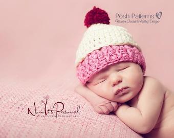 Crochet PATTERN - Cupcake Hat Crochet Pattern - Birthday Hat - Crochet Pattern Baby - Includes 3 Sizes - Photo Prop Pattern - PDF 312
