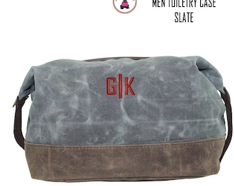 FOR HIM Monogrammed Waxed Canvas Deluxe Toiletry Case-Slate-Free Ship