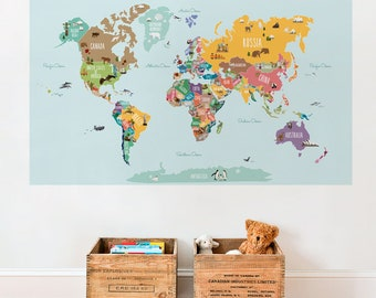 Kids world map etsy world map decal countries of the world map kids country world map poster gumiabroncs Gallery