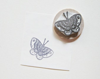 Striped Moth Hand Carved Rubber Stamp