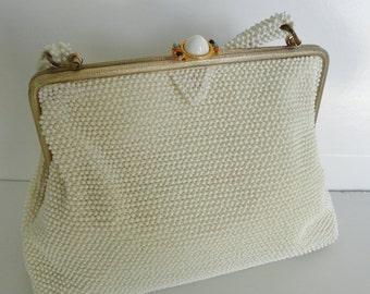 Vintage 50's Ivory Lumured Corde Bead Handbag