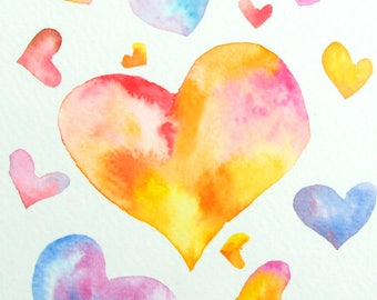 Hearts watercolor, Original watercolor, Love watercolor card, Heart painting, Wedding card, Engagement card, Love gift, Declaration of love