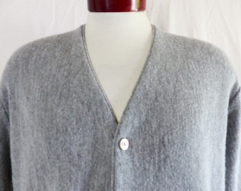 vintage 70s Arnold Palmer by Robert Bruce heather grey acrylic knit cardigan sweater v-neck button front unisex made in usa mod preppy Large NjQPC
