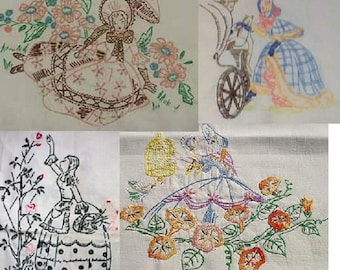 4 (four) Southern Belle / Crinoline Lady embroidery pattern SU125