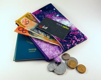 Double Zipper Pouch, Clutch, Galaxy Clutch, Space, Teacher Gift, Students Gift, Pencil Case, Cosmetic Bag, Travel Wallet