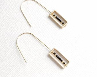 Floating Earrings, Geometric Earrings, Wire Earrings, Sleek Earrings, Geometric Jewelry, Minimal Earrings, Wire Jewelry