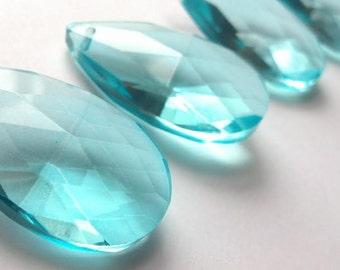 5 Light Aqua Teardrop 50mm Chandelier Crystals Antique Green