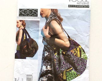 Vogue1311 Designer Bag Pattern, Koos Van Den Akker, Designer, Large Purse Pattern, Tote, Vogue Accessories, Uncut Pattern