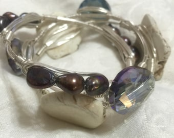Bronze Purple-tint Freshwater Pearls On Wire Wrapped Bangle -  Freshwater Pearls On Silver Non-Tarnish Wire