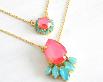 Coral Aqua Blue Turquoise Layered Necklace