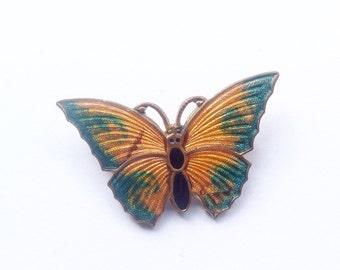 Vintage, Art Deco enamel butterfly brooch.