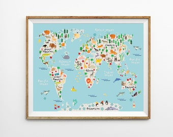 Kids US map 8 x 10 in 11 x 14 in 20 x 30 in USA map