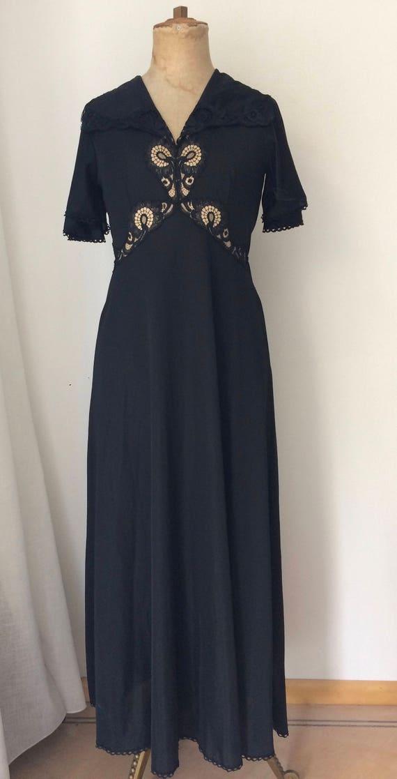 Vintage Kayser France beautiful black maxi night gown, size M (EUR 38)