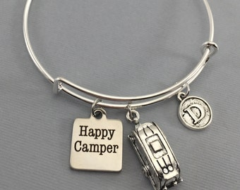 Happy Camper Jewelry - Camping Gift - Camping Jewelry - Glamping - Vintage Camper - Camper - Bangle Bracelet - Charm Bracelet - Camping