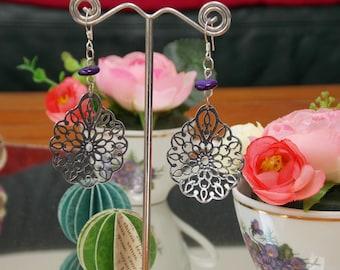 Flower - purple pattern earrings