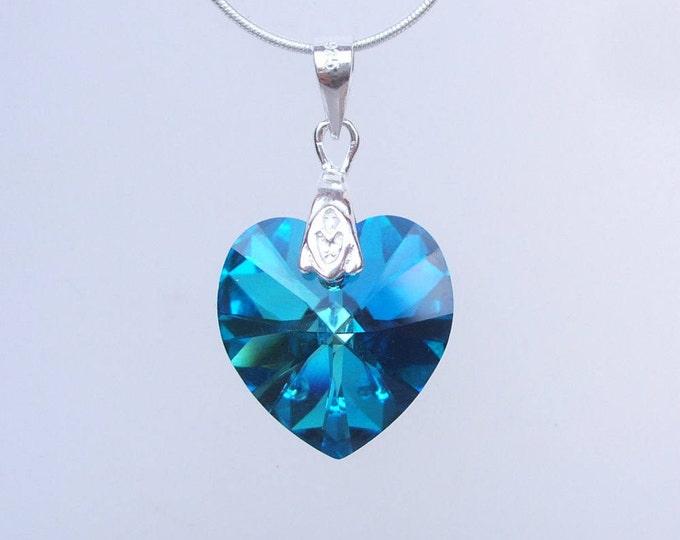 Blue Swarovski Crystal Heart Necklace, Sterling Silver Swarovski Heart pendant Necklace, Peacock Blue Mothers Day gift Swarovski Jewelry