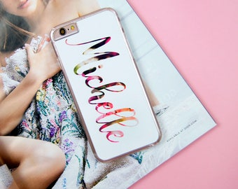 Name Flowers Custom Made Customised Personalised iPhone 5/5S/SE 6/6S 7 8 Plus + X Samsung S6 S7 S7 Edge S8 Phone Case/Cover UK