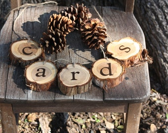 Rustic Wedding Decor, Cards Sign, Hanging, for cards with rustic cedar wood slices, for wedding, party, project, DIY