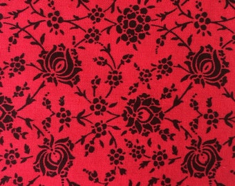 Cotton Fabric / Red Floral Fabric / Floral Fabric / Vintage Fabric / Red and Black Fabric / Vintage Floral Fabric  / Quilting Fabric