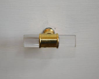 Gold and Glass Drawer Knob Handles, Drawer Pull, Cabinet Pull, Cabinet Knobs