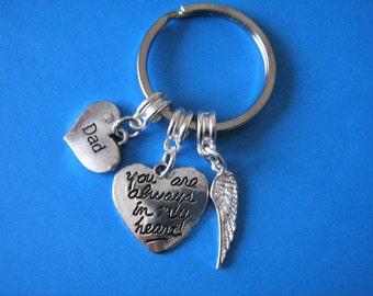 In Memory of Dad Keyring Angel Wing Heart Charm Bereavement Keychain