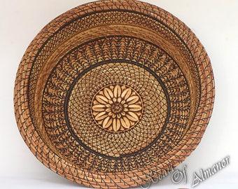 Straw Flower Love, pine needle basket, carved wood burned center Pine Needle Basket handmade