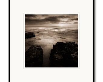 La Jolla Sunset, Southern California, photography, black and white, sepia warm tone, framed photo by Adrian Davis, limited edition photo