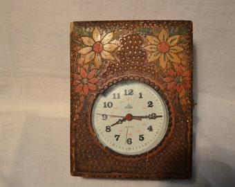 Vintage 1970's Mechanical Alarm Clock with Original Wooden Box.Brand:ARADORA - ROMANIA