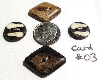 Handmade Kenyan Batiked Bone Buttons Rounds and Diamonds Card of Four
