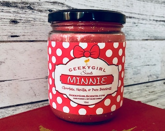 Minnie   Minnie Mouse Inspired Candle   Chocolate, Vanilla, & Pure Sweetness