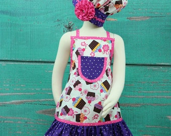 Toddler Apron, Kids Apron, Child's Apron, Ruffle Apron, Kids Chef Set, Children's Apron and Chef's Hat, Cupcake Apron, Size 1-3