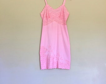 1950s Vintage Slip Sissy Lingerie Lace Lingerie Pink Floral Applique Vintage Lingerie