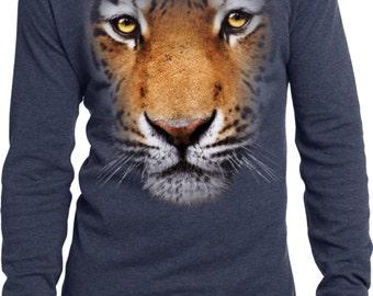 Men's Funny Shirt Big Tiger Face Long Sleeve Thermal Tee T-Shirt 17926D0-DT118
