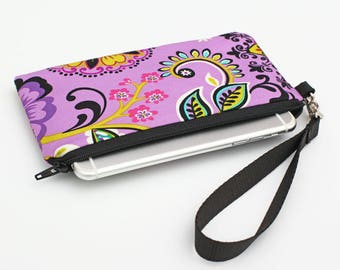 Smarthone Clutch Wallet, Women's Phone Wristlet, iPhone X Clutch, Small Makeup Wristlet Purse - purple flowers, turquoise lime  pink floral