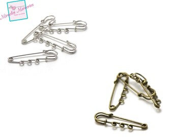 4-prong safety pins 50 x 13 mm silver /bronze
