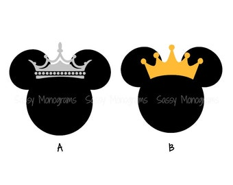 Princess Minnie or Prince Mickey Personalized Vinyl Decal