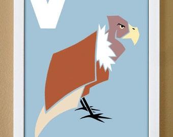 alphabet letter V, vulture, custom colors, children's letter art, alphabet art, nursery decor, kids initials, 4X6, 5X7, 8X10