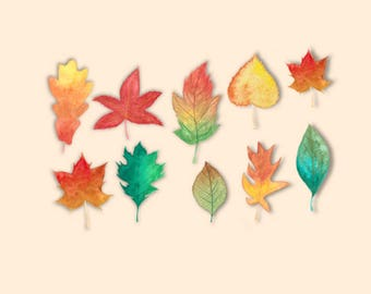 Watercolour autumn leaves stickers, planner, decorative stickers