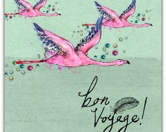 "Greeting card ' BON VOYAGE ""handmade 15cm x 15cm"