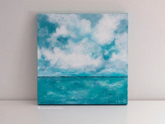 "Original 18x18 Painting ""Blue Horizon"" FREE SHIPPING"