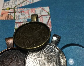 Adventure Vintage Map Personalized 1 inch Pendant with glass dome