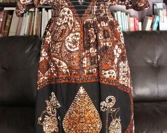 Vintage Dashiki Black Brown Ethnic Long Maxi Caftan Short Sleeve Dress | Size Small