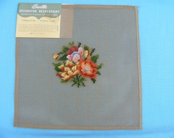 Preworked Floral Needlepoint Canvas #1