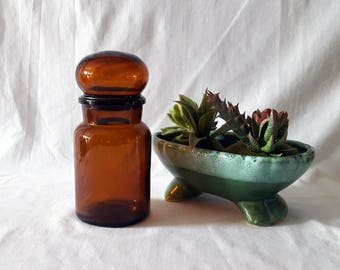 Vintage Amber Apothecary Jar, Brown Glass Jar, Bubble Top Lid, Made in Belgium