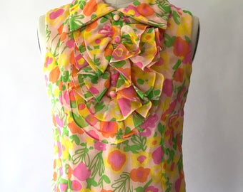 vintage 1960s dress / 60s mod floral print dress / L'Aiglon / small medium