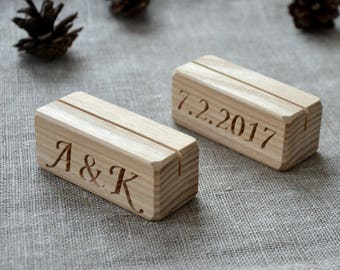 16 Personalized Wood Table Number Holders for Wedding and Party, Custom Rustic Table Number Holder, Restaurant Table Number Holder