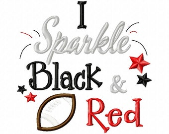 I Sparkle Black and Red-Football-APPLIQUE - Machine Embroidery Design - 6 Sizes