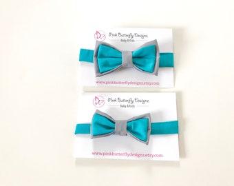 Aqua and grey Bow Tie ~ Baby Bow tie ~ aqua bow ~ Daddy and me bow tie~ page boy bow tie~ wedding bow tie~ Spring bow~ groomsmen tie