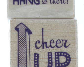 Inkadinkado Hang in There Cheer Up Words Sentiment Wooden Rubber Stamp